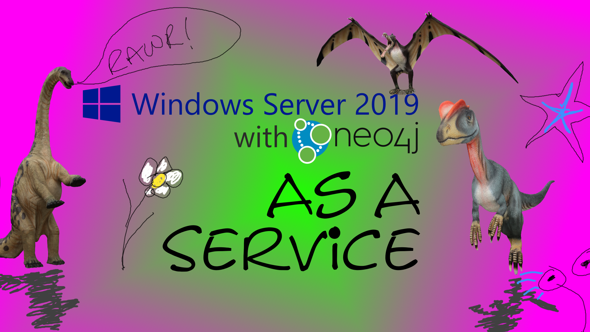 Windows Server 2019 with Neo4j as a service. There are spurious dinosaurs on this. They add nothing, but it's a dry topic...